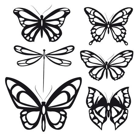 silhouette fleur: conception de papillons