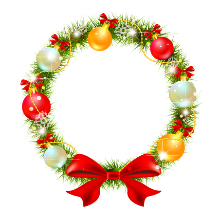 red christmas backgrounds: Wreath Illustration