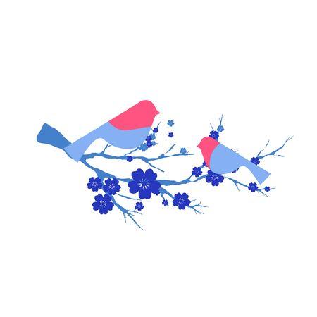 birds on branch: cherry branch Illustration