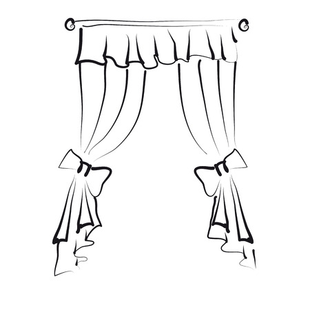 white window: curtains Illustration