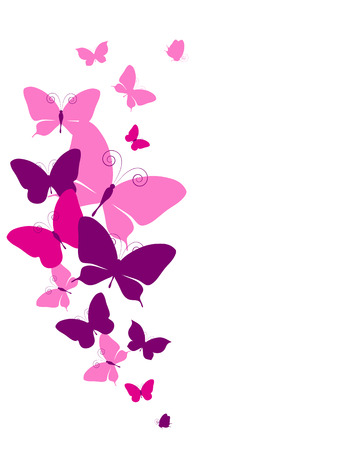 violet background: butterflies design Stock Photo