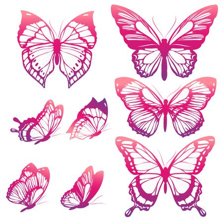 pink wedding: butterflies design Stock Photo