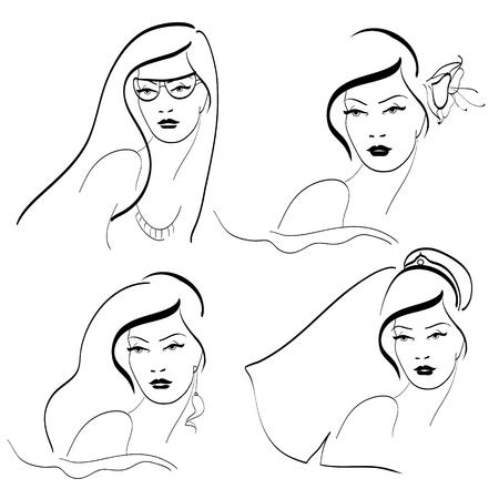 long hair model: faces,hairs Illustration
