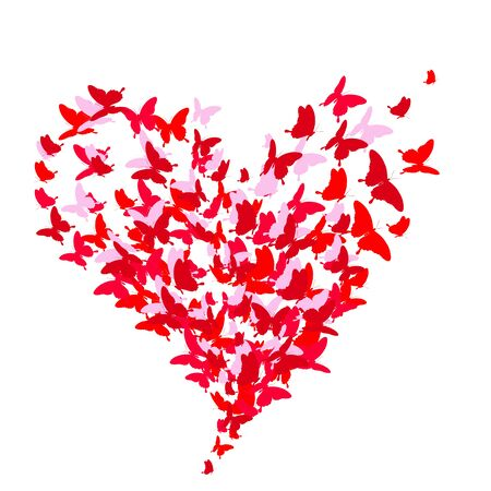 wedding heart: color butterflies,isolated on a white