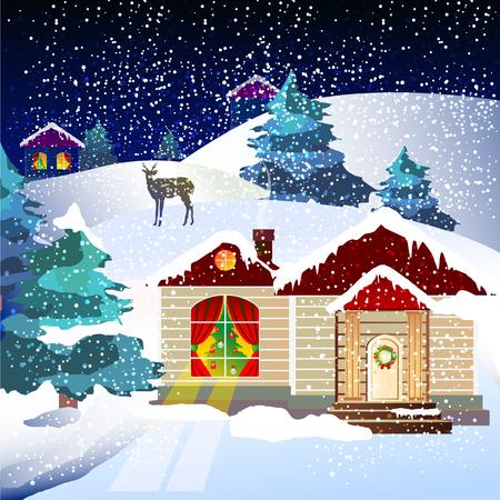 postal card: Christmas night, holiday