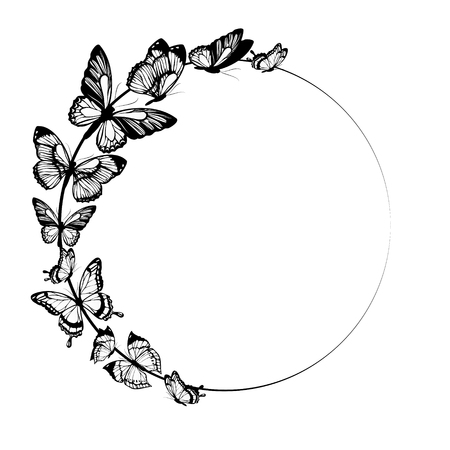 on white: black butterflies,isolated on a white Illustration