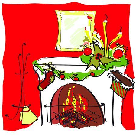 cristmas: Cristmas fireplace Illustration