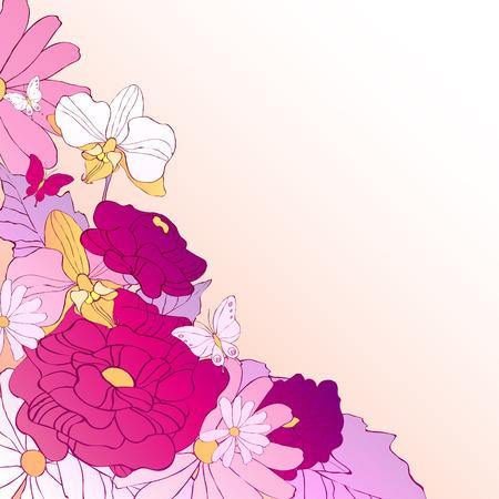 postal card: beautiful violet flowes Illustration