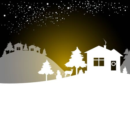 Christmas night card Illustration