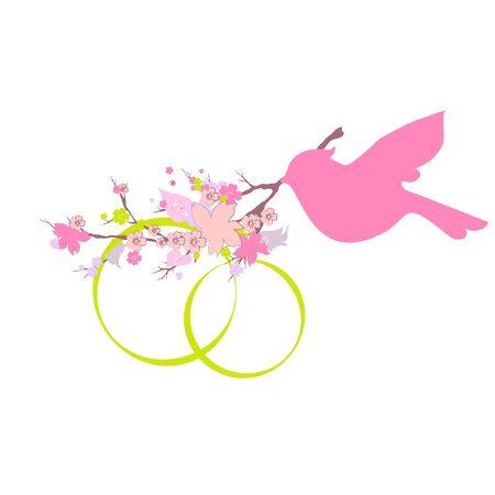 Bel uccello, ramo di fiori, su un bianco