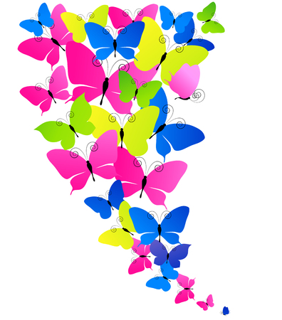 grren: beautiful color  butterflies, isolated  on a white