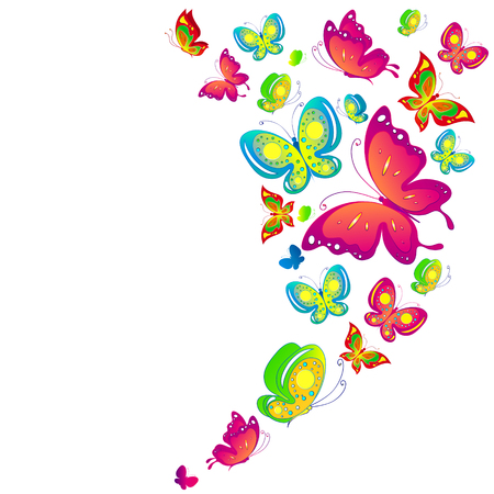 schmetterlinge blau wasserfarbe: Beautiful color butterflies,set, isolated  on a white Illustration