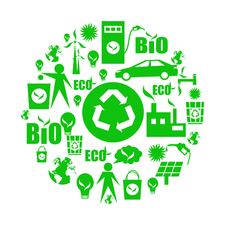 Green eco icons,isolated on a white Illustration