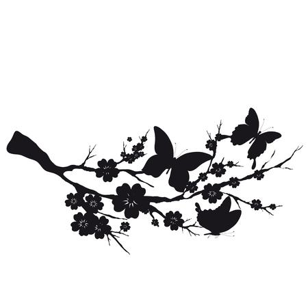 silhouete: Black silhouete,flowers tree , on a white