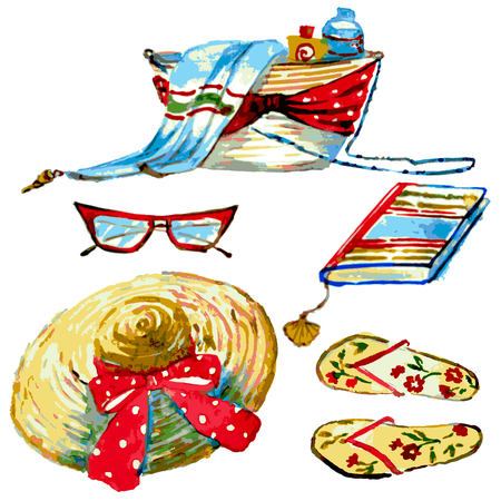set di spiaggia, borsa, cappello, occhiali, su un bianco, set di acquerello