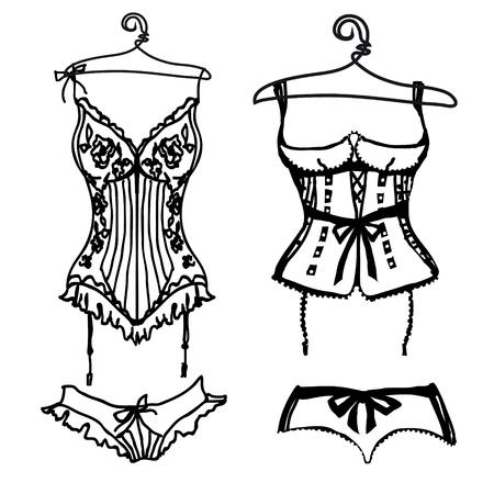 underwear black set, isolated on a white