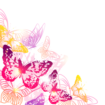 beautiful pink butterflies, isolated  on a white Stock Vector - 81453015