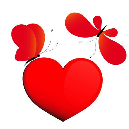 butterfly background: red heart, butterflies, valentine card Illustration