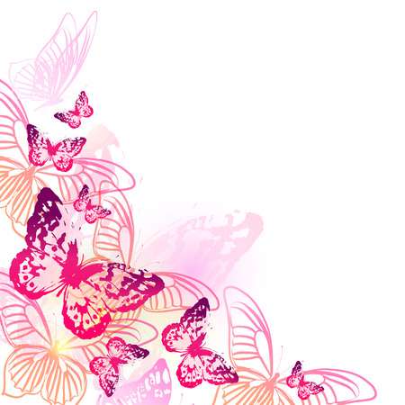 beautiful pink butterflies, isolated  on a white Çizim