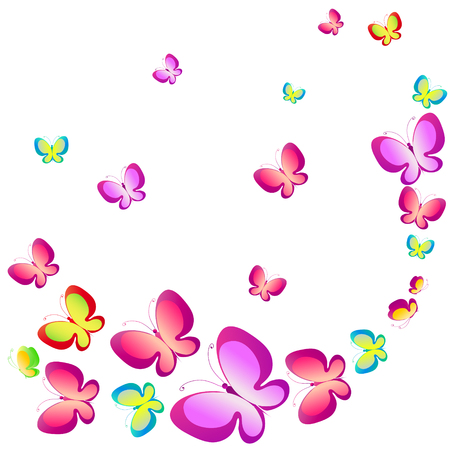 butterfly background: beautiful color butterflies,set, isolated  on a white Illustration