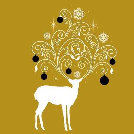 Christmas deer, black,white, gold colors