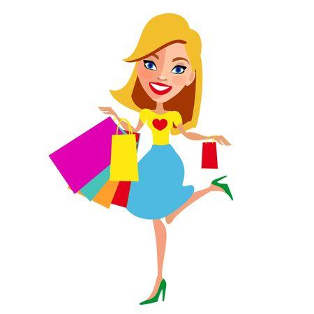 beautiful woman, shopping, on a white