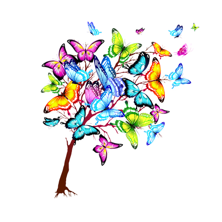 violet red: beautiful color butterflies, tree, isolated  on a white Illustration