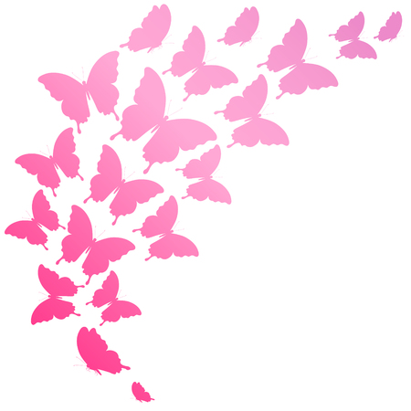 butterfly isolated: beautiful pink butterflies, isolated  on a white Illustration