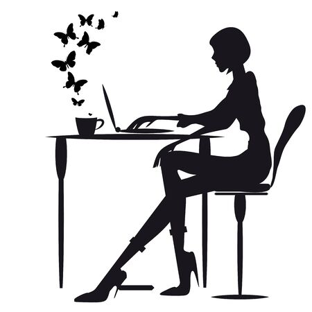 girl laptop: Woman working