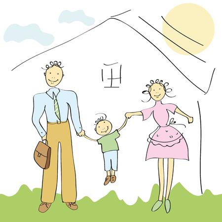 happy family;hand drawn