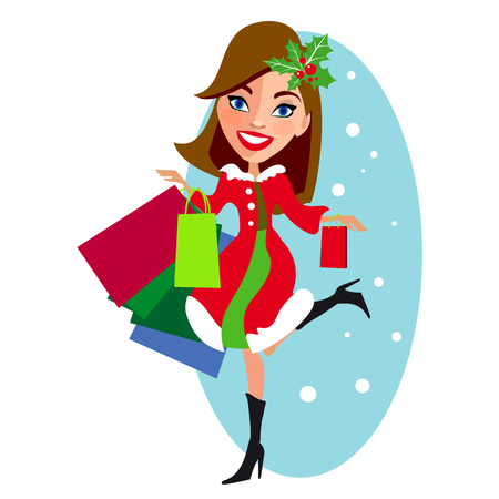 winkelend meisje, de winterverkoop, op een wit