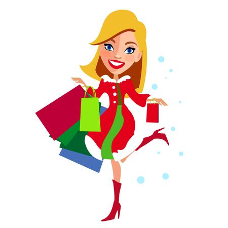 Winkelend meisje, de winterverkoop, op een wit Stock Illustratie
