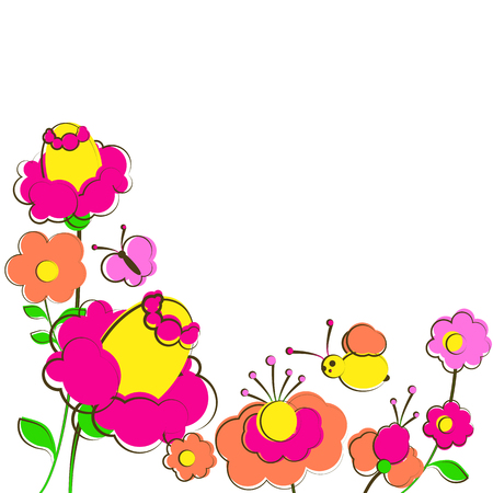 beautiful color flowers , isolated on a white Illustration