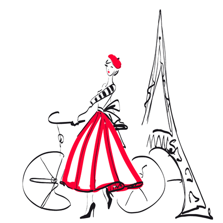 Woman in Paris, sketch, isolated on a white