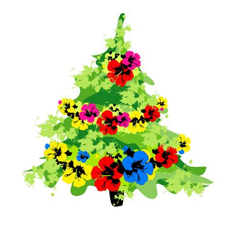 Christmas tree with flowers,on a white