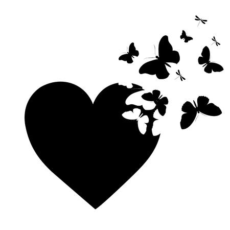 Farfalla nera, cuore isolato su un bianco Archivio Fotografico - 88991250