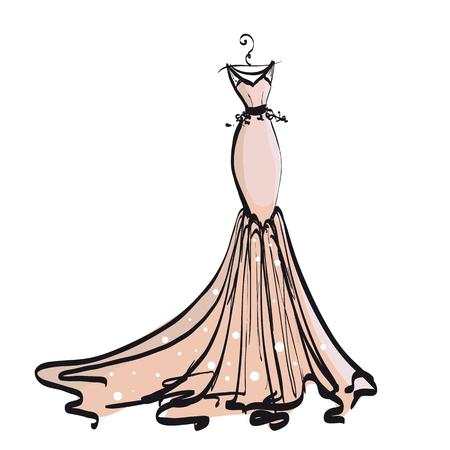 Wedding gown design illustration.