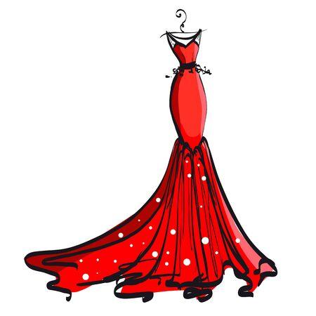 Elegant gown design illustration. Çizim