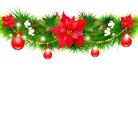 Christmas garland with poinsettia and cotton ,isolated on a white