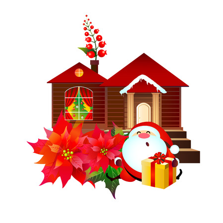 Christmas set with poinsettia , Santa,and house ,isolated on a white