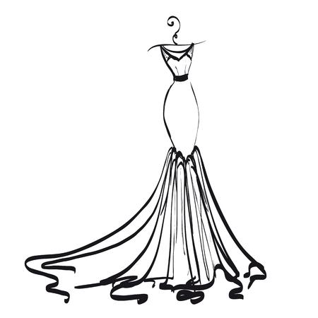 Brautkleid Design, schwarz und weiß Standard-Bild - 90460635