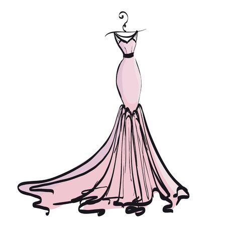 Wedding dress design, black and white, pink Illustration