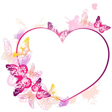 beautiful pink butterflies, heart on a white