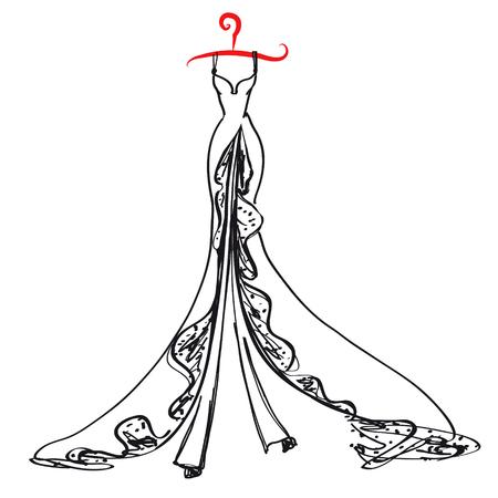 wedding dress design on white background Illustration