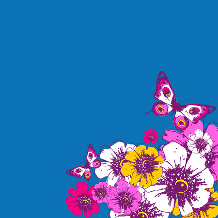 Beautiful wildflowers, bouquet, isolated  on a blue