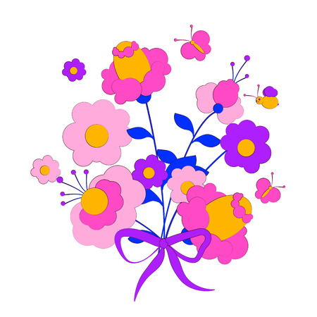 Beautiful wildflowers, bouquet, isolated  on a white Illustration