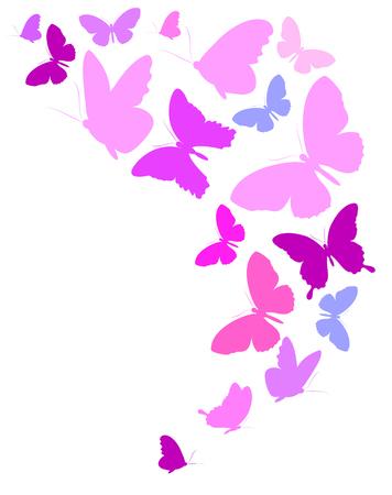 Beautiful pink butterflies vector illustration Illustration
