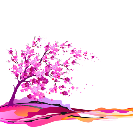 Pink tree and leaves vector illustration