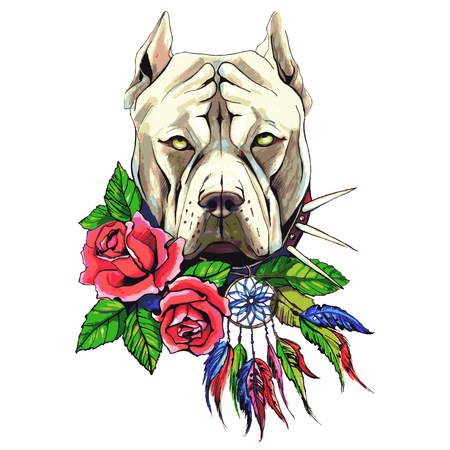 Pit bull dog with roses vector illustration