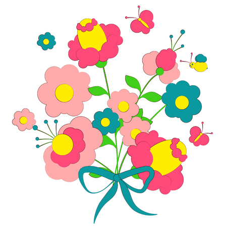 bouquet, beautiful pink flowers on a white Illustration